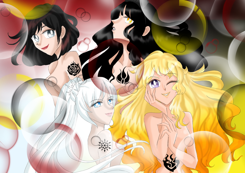 and schnee weiss rose ruby Alphys and undyne
